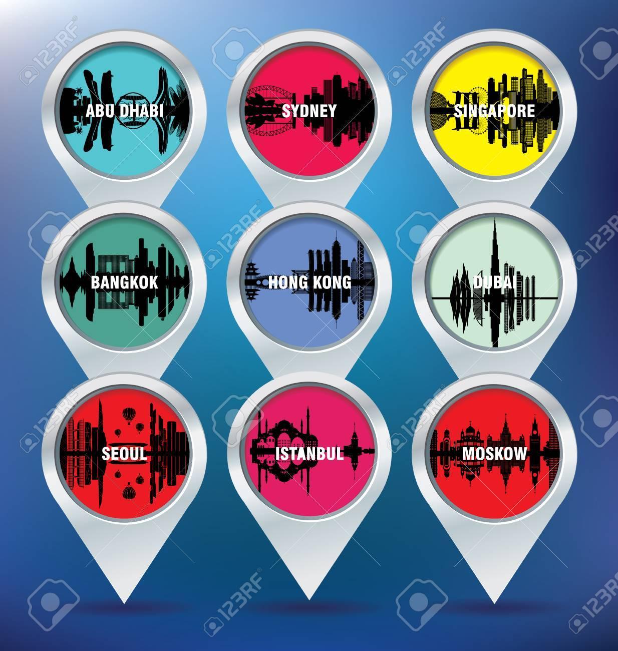 Map pins with Abu Dhabi, Sydney, Singapore, Bangkok, Hong Kong,
