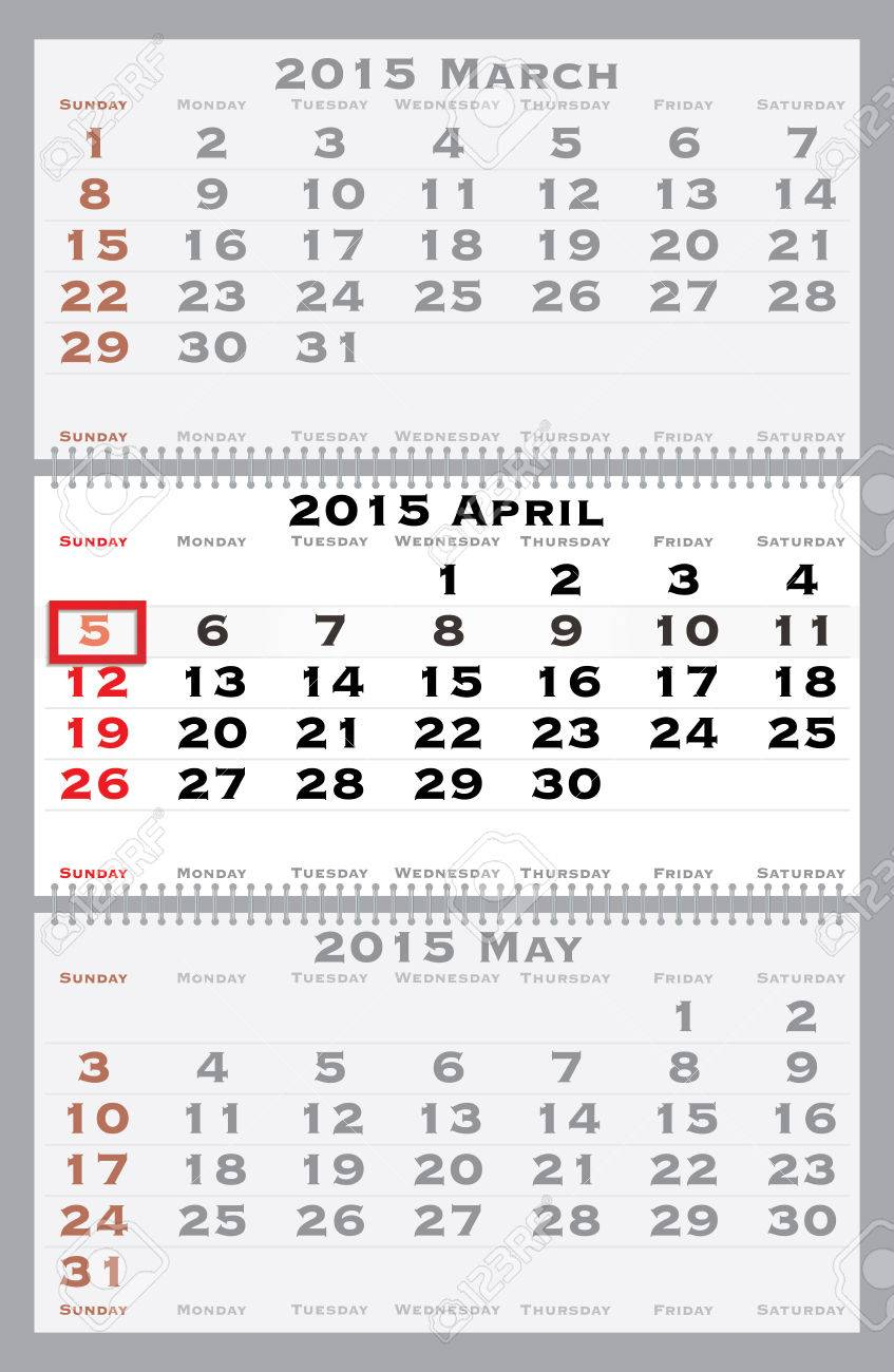 2015 april with red dating mark - current marked holiday is Easter - vector illustration Stock Vector - 29616229