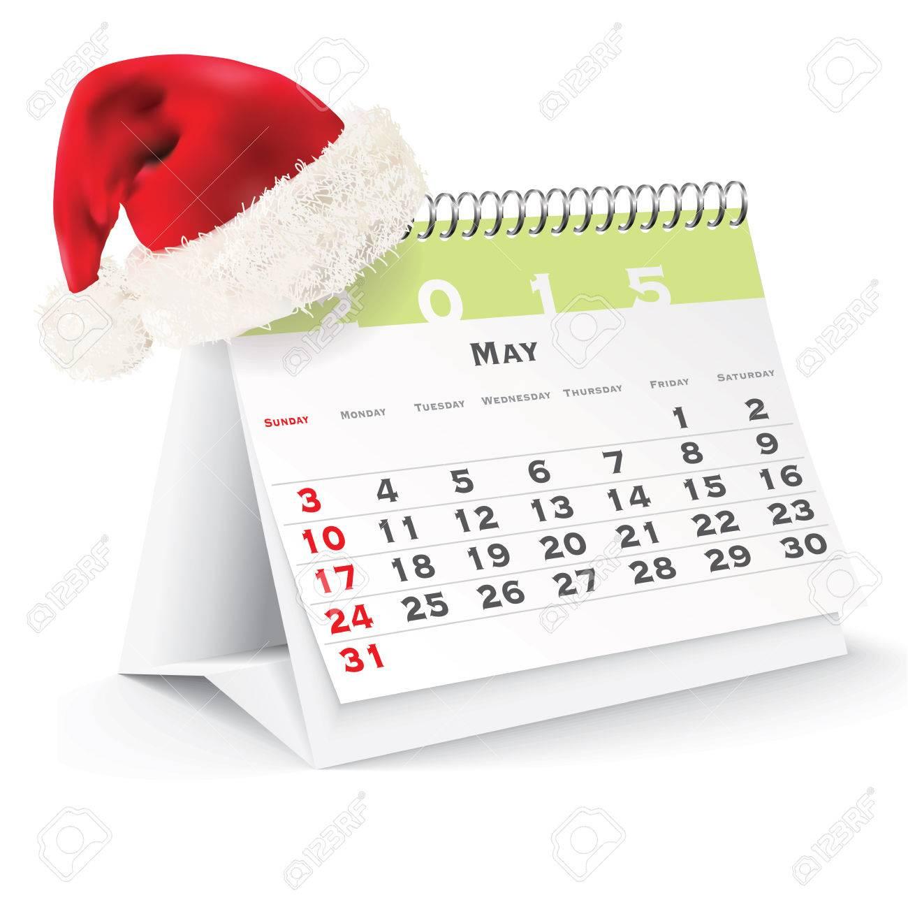 calendario de escritorio con sombrero de navidad ilustracin vectorial foto de archivo