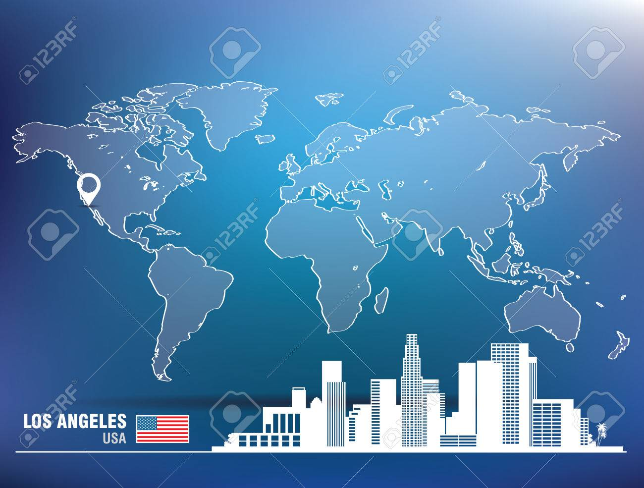 Map Pin With Los Angeles Skyline Vector Illustration Royalty - Los angeles map world