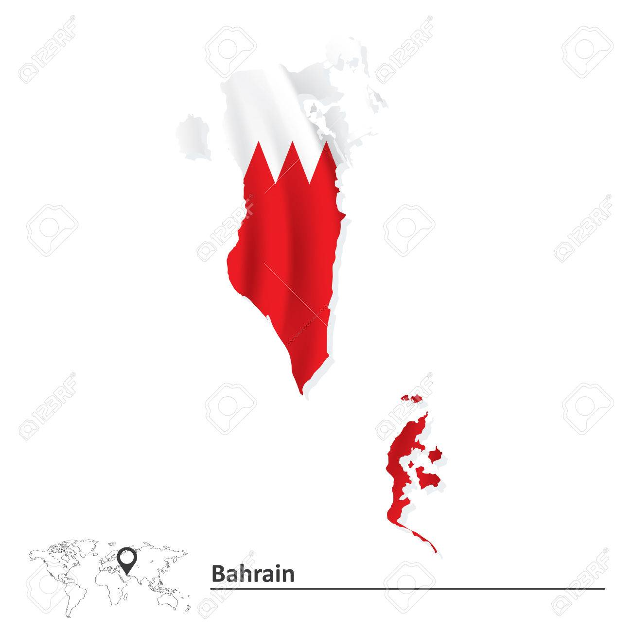 Map Of Bahrain With Flag Vector Illustration Royalty Free - Bahrain map