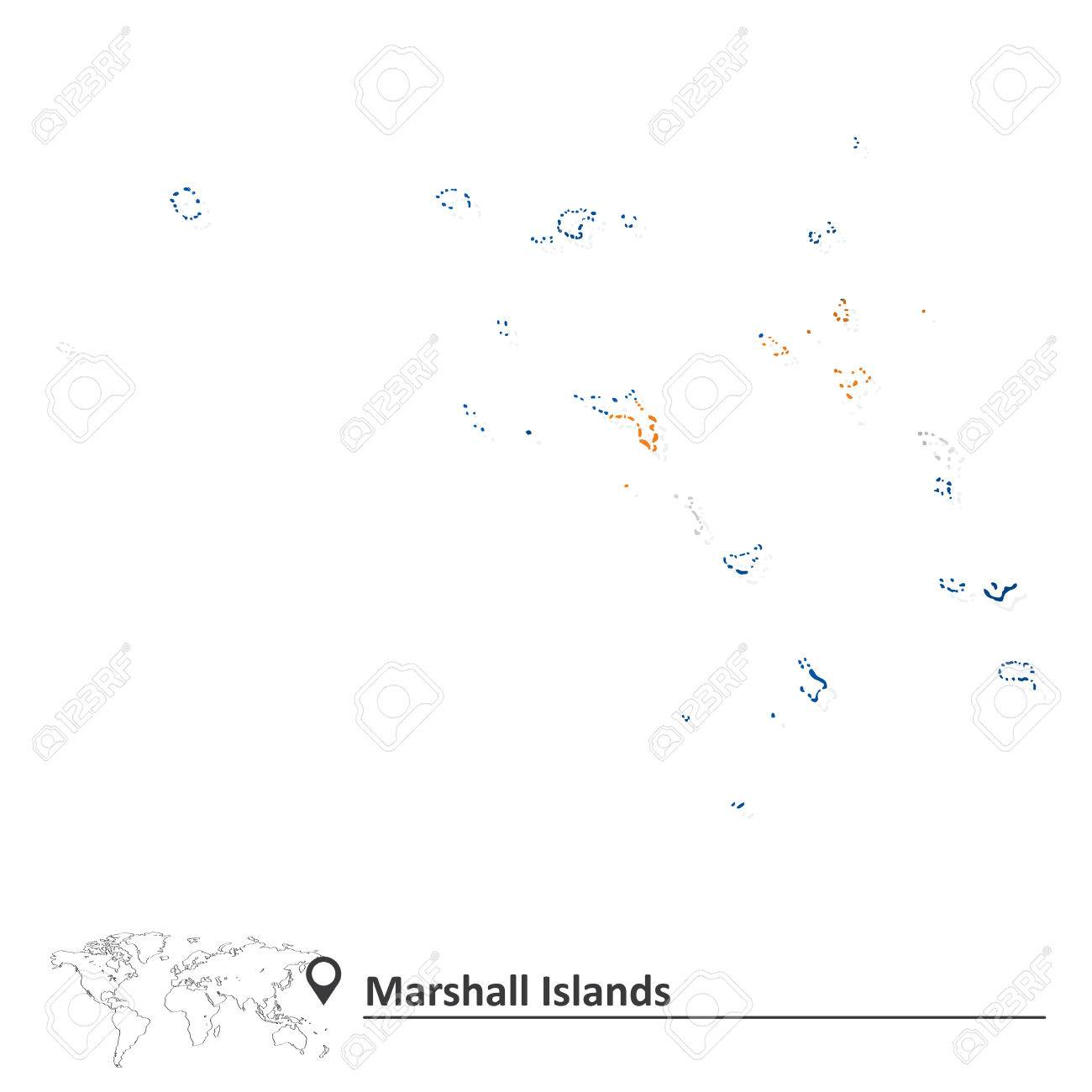 Map Of Marshall Islands With Flag Vector Illustration Royalty - Marshall islands map