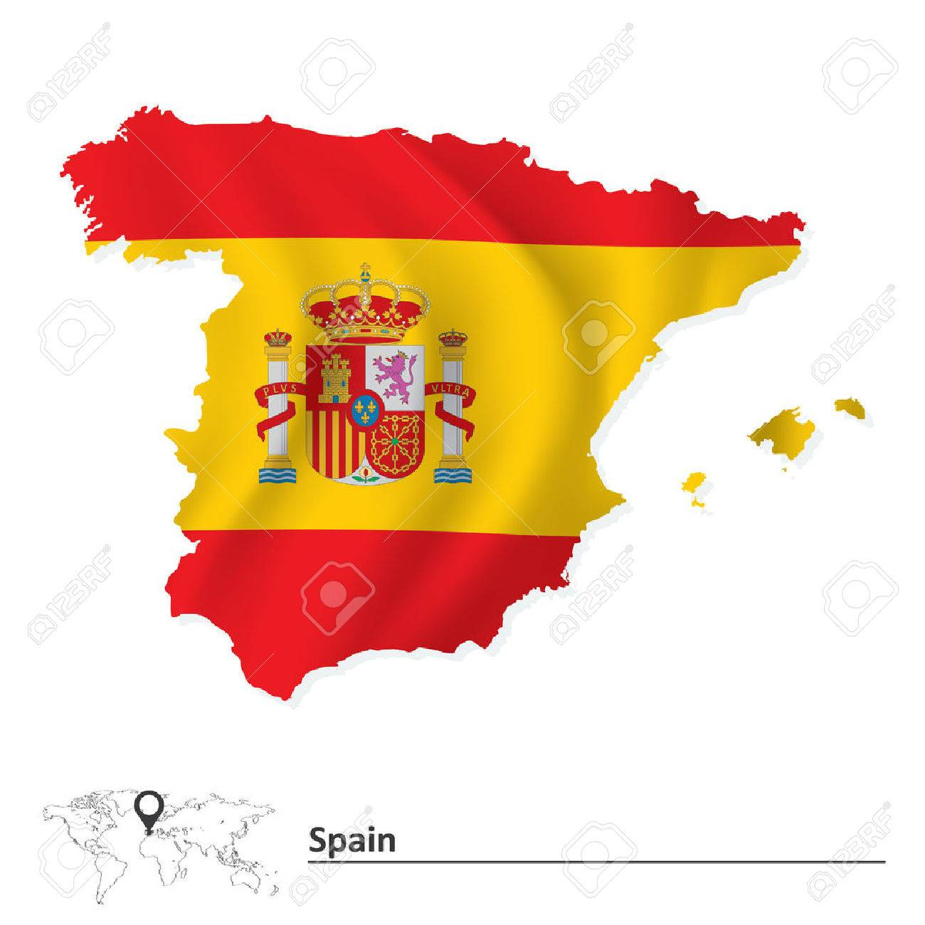 Map Of Spain With Flag Vector Illustration Royalty Free Cliparts