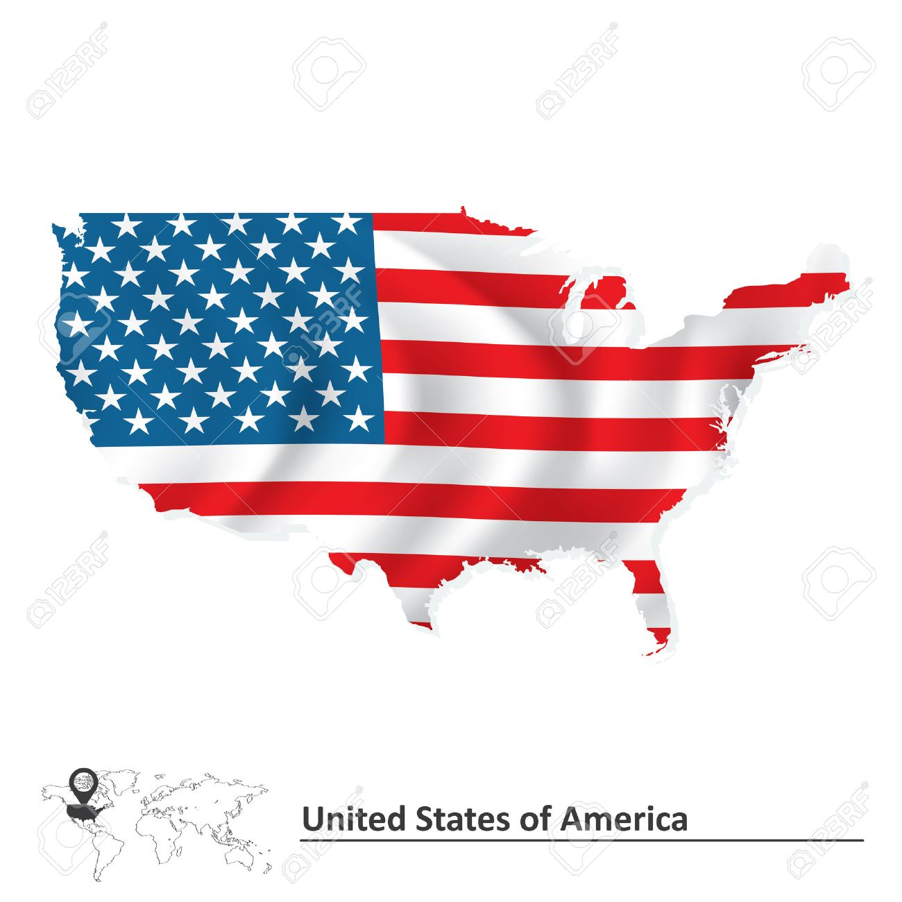 Map Of United States Of America With Flag Vector Illustration - Us map with glag