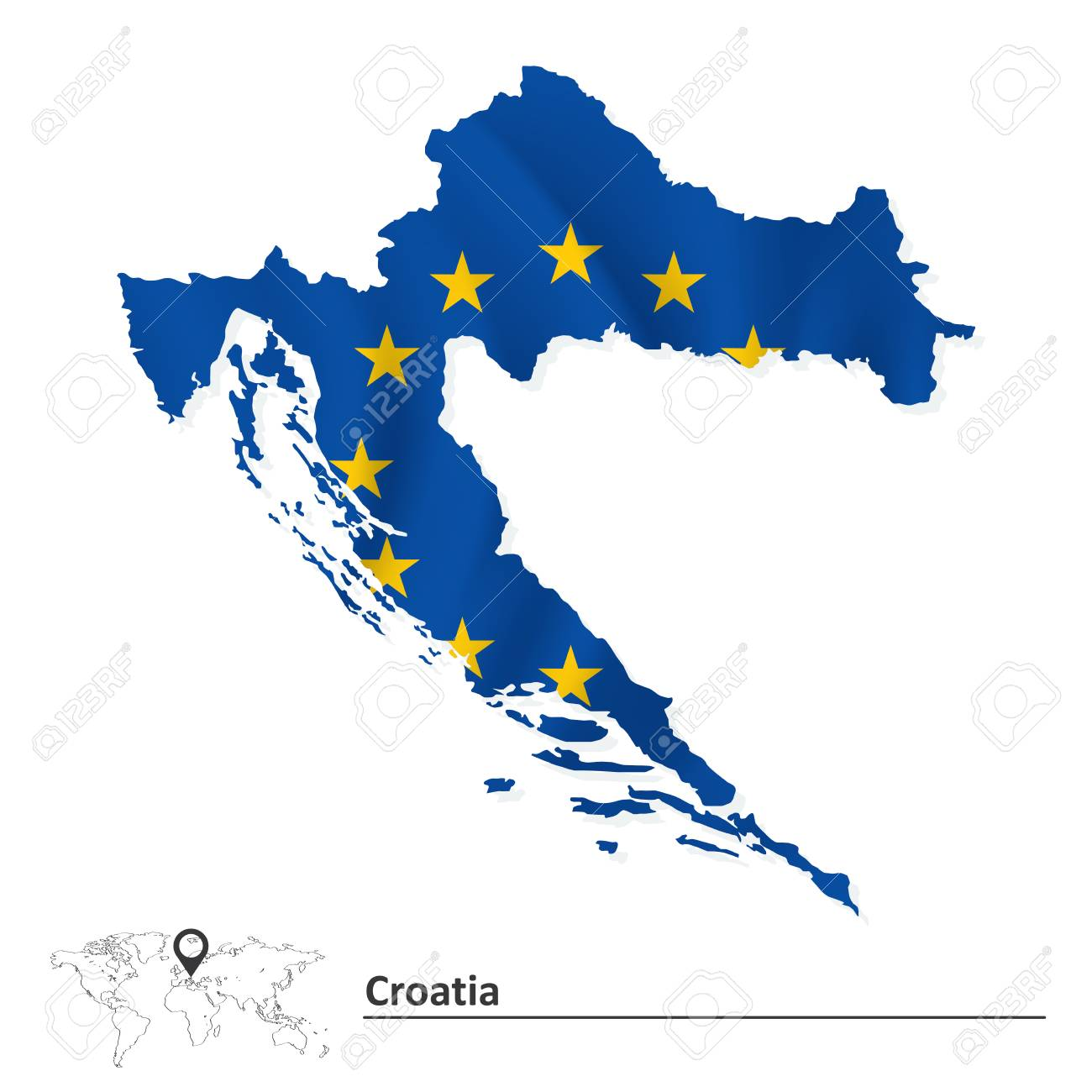 Map Of Croatia With European Union Flag Illustration Royalty Free