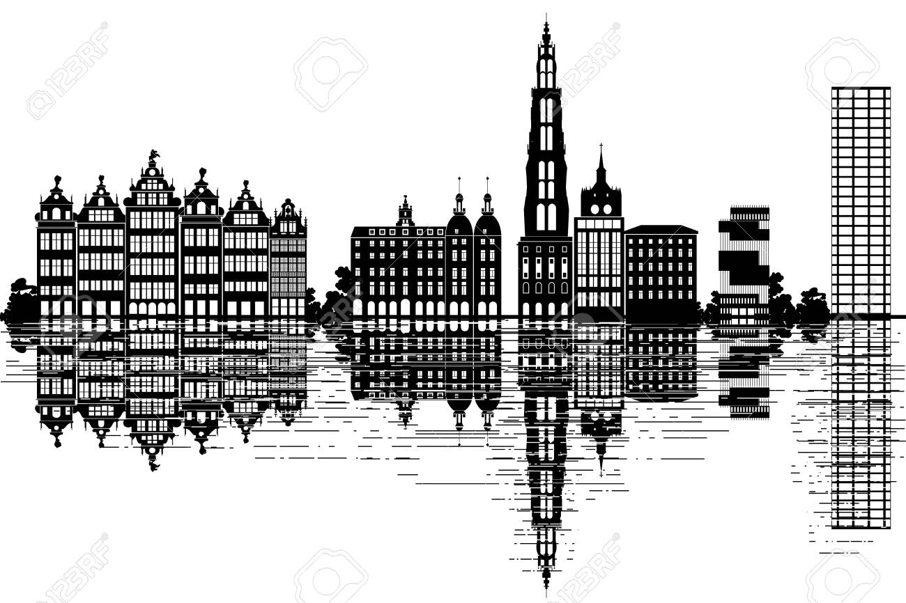 Antwerp Skyline Black And White Vector Illustration Royalty Free Cliparts Vectors And Stock Illustration Image 145581158