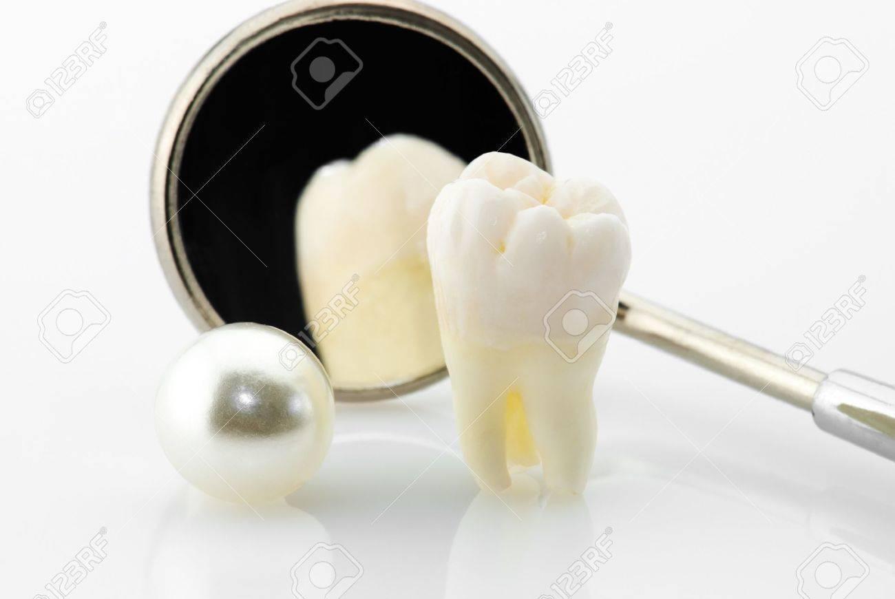 Gesunde Zähne Konzept. Echte Menschliche Weisheit Zahn, Natürliche ...