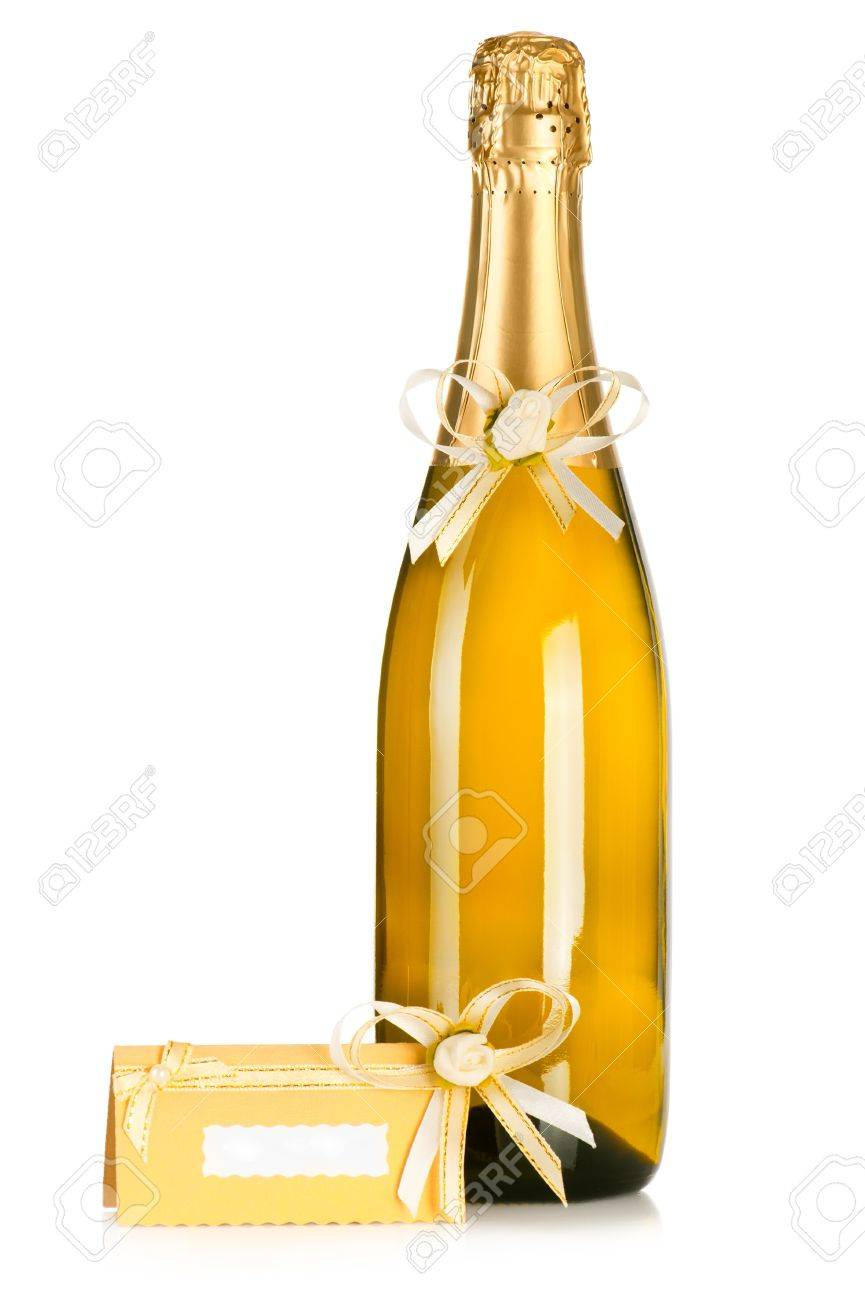 Corked Bottle Of Champagne With Wedding Decoration Flower