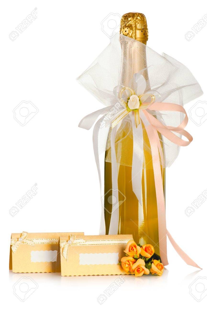Corked Bottle Of Champagne With Wedding Decoration Bow Flower