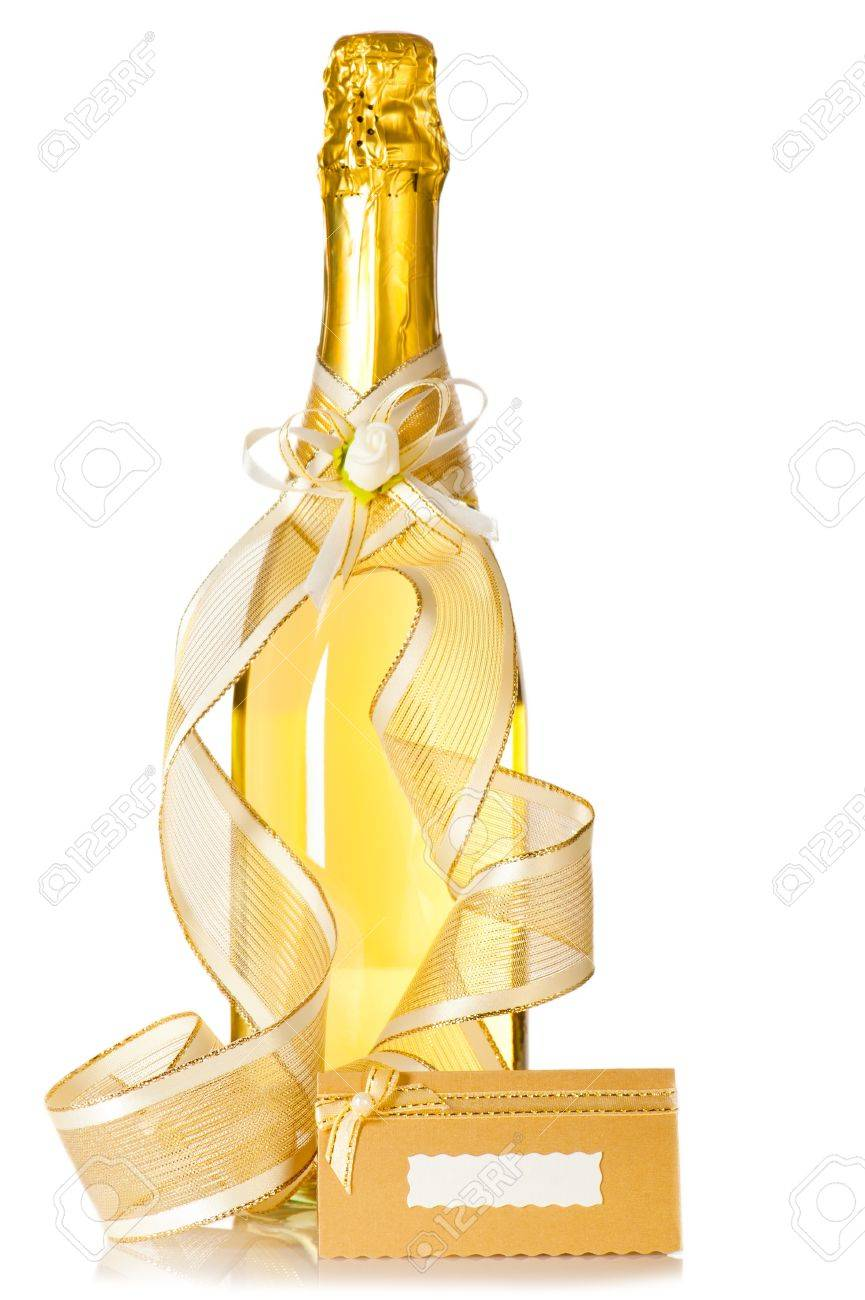 Corked Bottle Of Champagne With Wedding Decoration Ribbon Flower