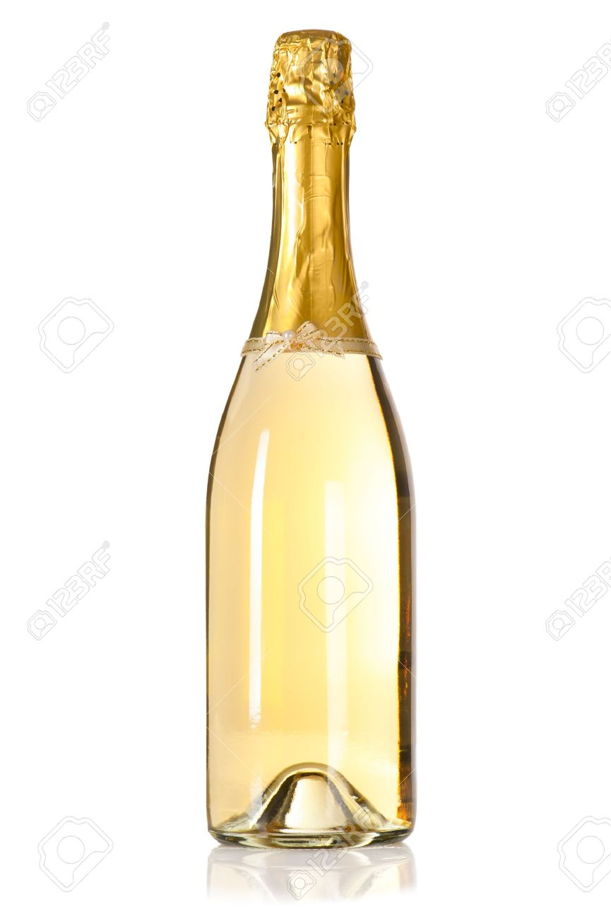 Champagne Bottle Decoration Champagne Bottle With Decoration Bow On White Background Stock