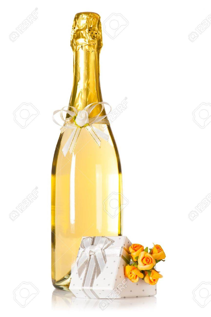 Bottle Of Champagne With Wedding Flower Decoration And Present