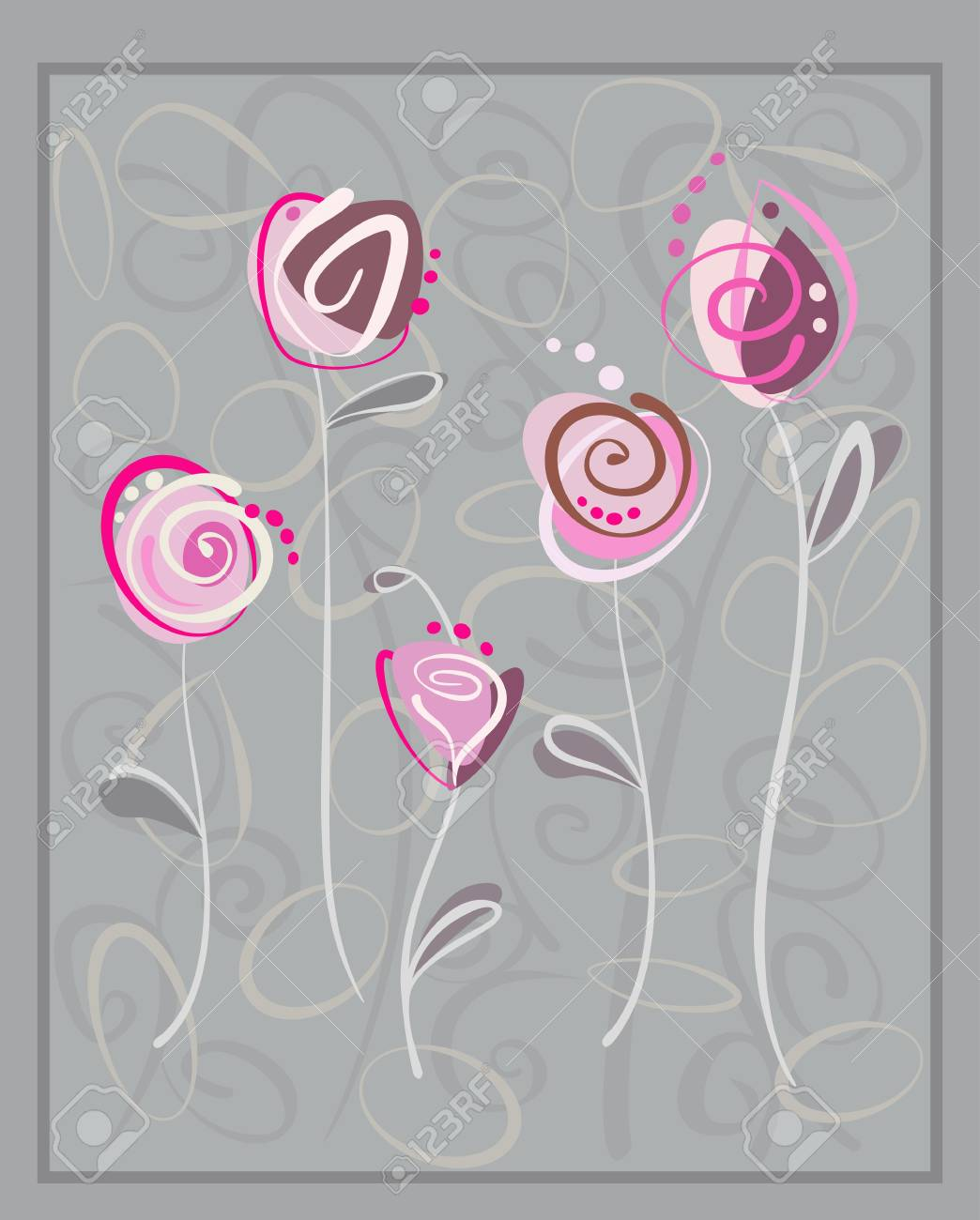 Abstract pink roses postcard on gray background. Floral pattern with space for text Stock Vector - 13540822