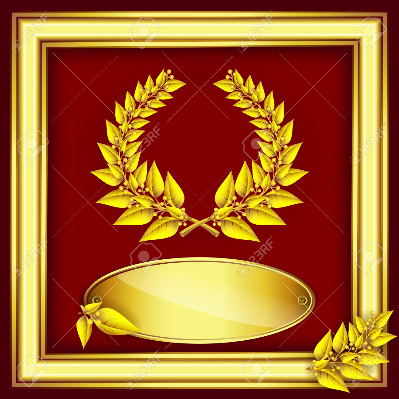Award or jubilee certificate gold laurel wreath label for text award or jubilee certificate gold laurel wreath label for text and frame on red yadclub Image collections