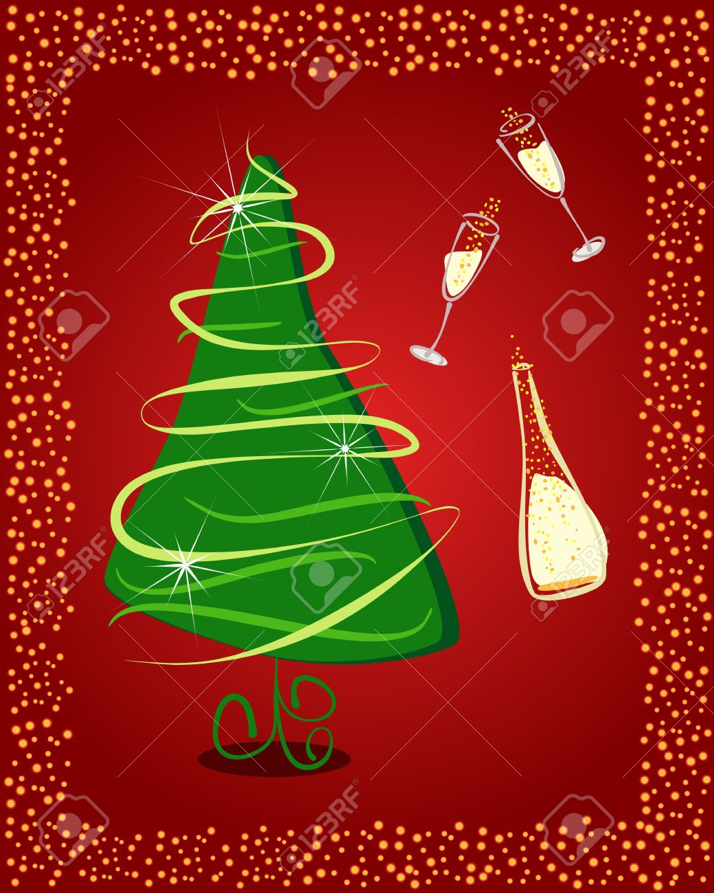 happy new year gift card with christmas tree and champagne stock vector 14647552