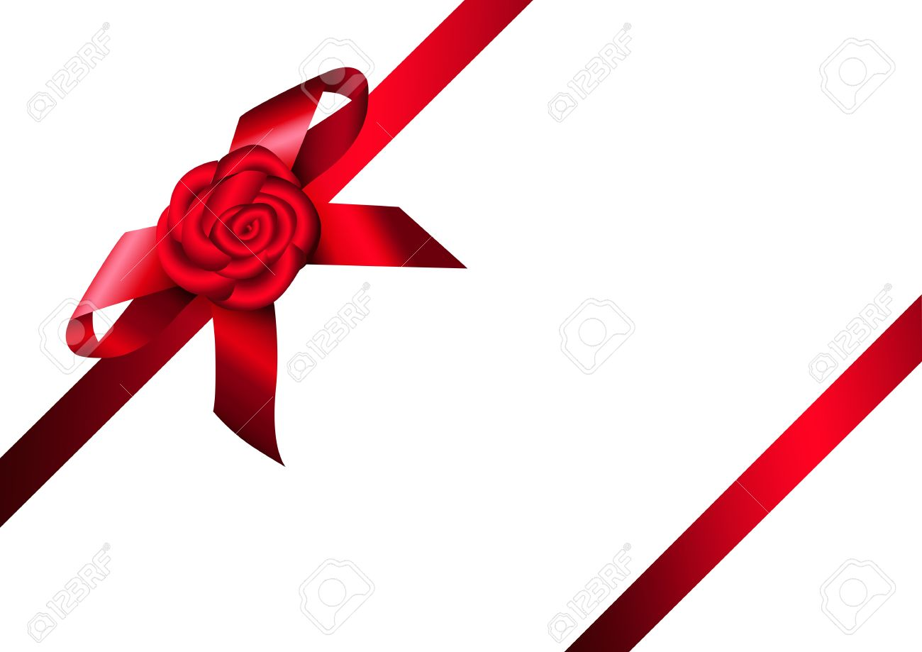 Red ribbon rose and bow design for gift invitation card or red ribbon rose and bow design for gift invitation card or present box stopboris