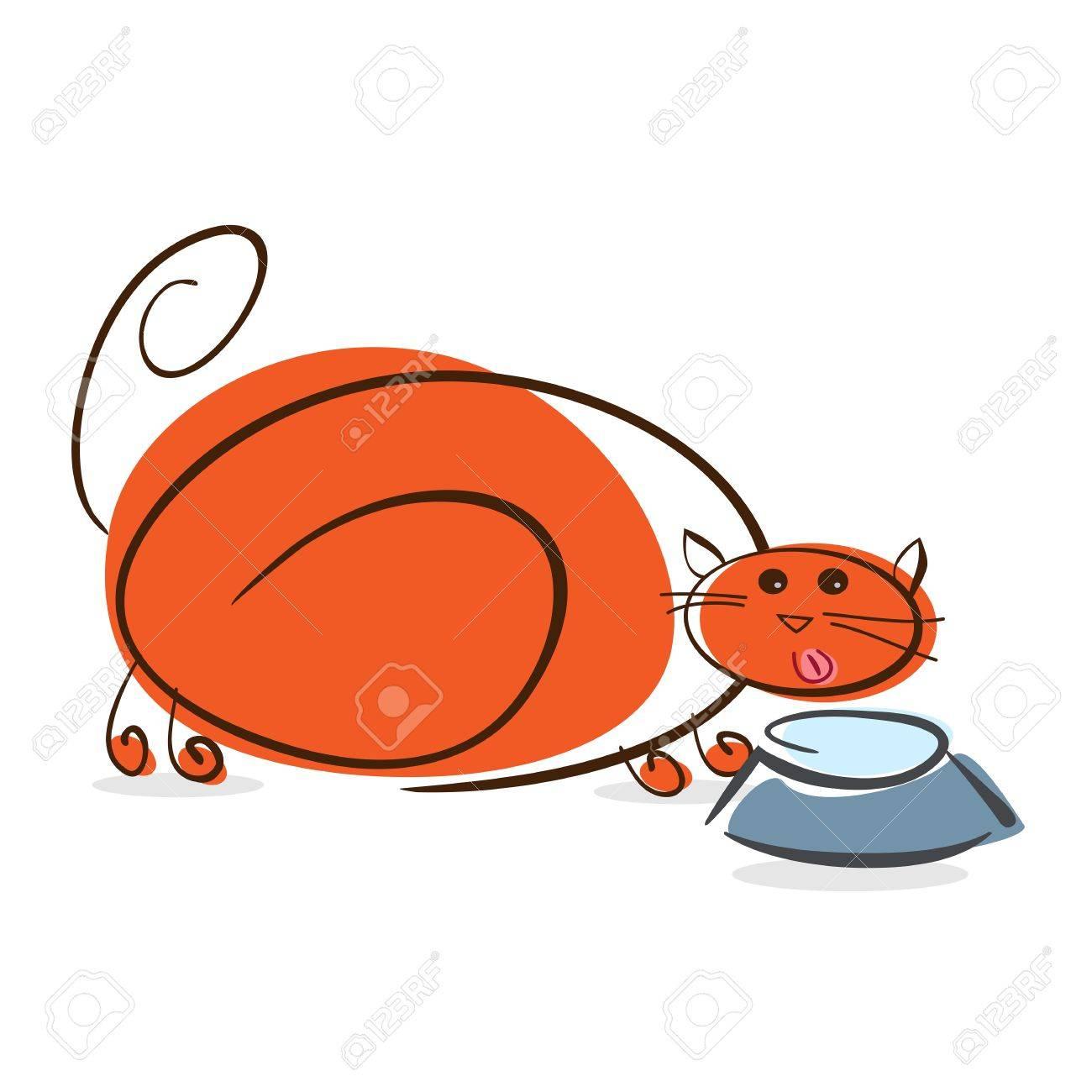 Plump red cat drinking milk    illustration Stock Illustration - 17451596