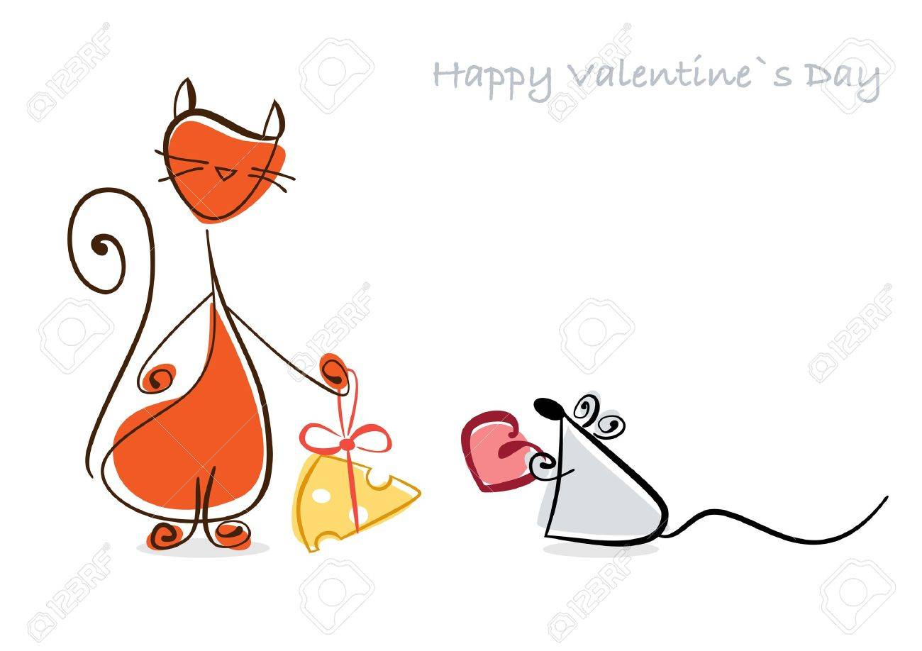 Happy Valentine  Red cat and mouse with gifts    illustration Stock Photo - 17451593