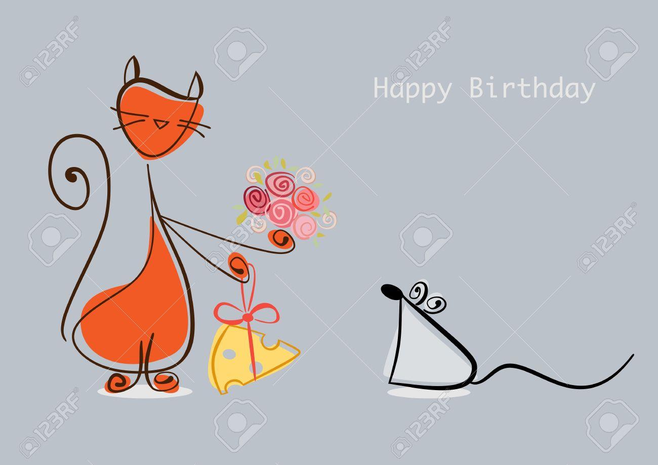 Happy Birthday. Red Cat Gratuliert Maus Mit Blumen Und Käse ...