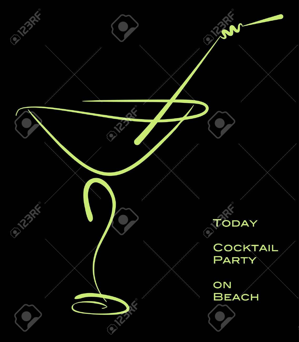 Cocktail party. Green silhouette of alcohol cocktail in glass with straw on black. - 17860166