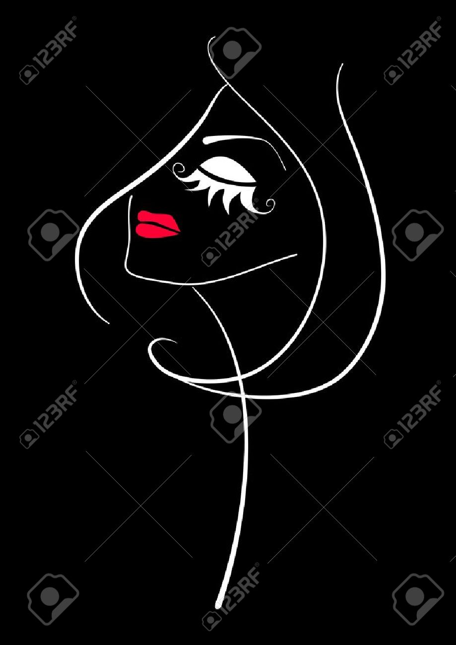 Fashion makeup. Abstract beautiful woman face silhouette on black background. - 17860165