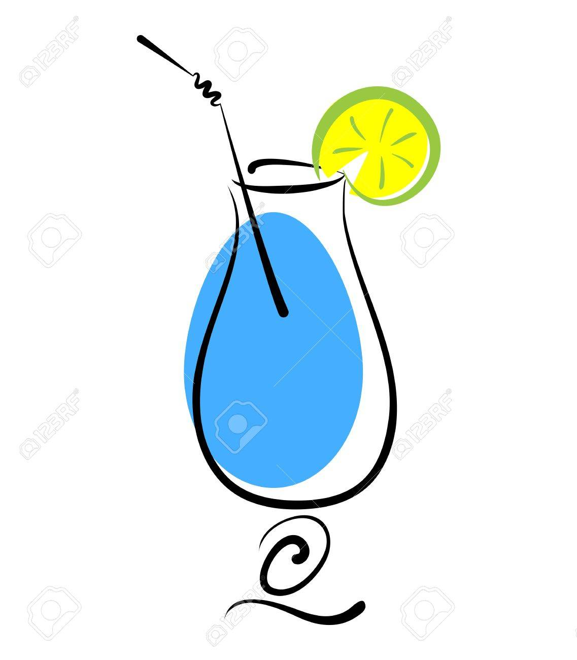 Alcohol blue cocktail in glass with straw and lemon slice on white Stock Vector - 18453388