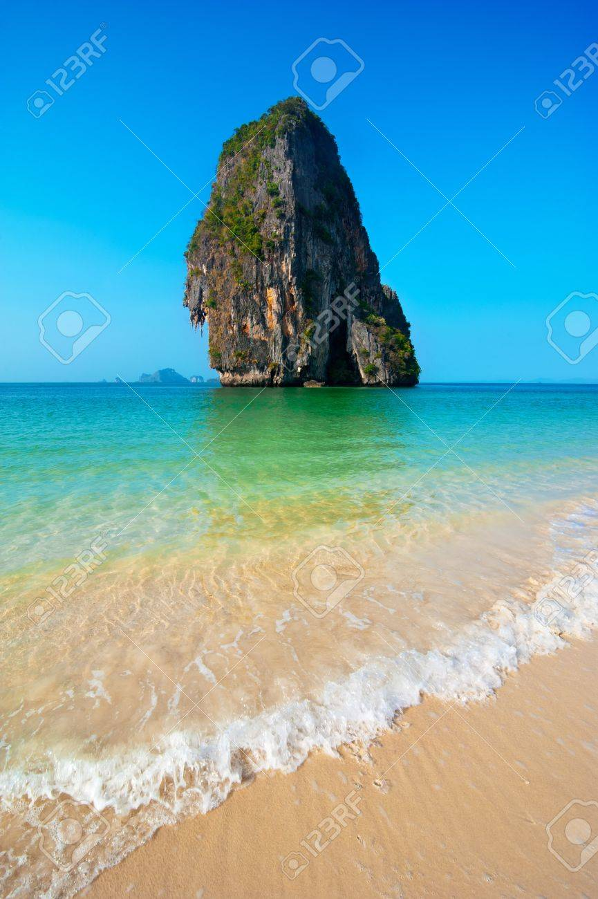 tropical beach landscapes. tropical beach landscape with rock formation island and ocean pranang cave railay landscapes i