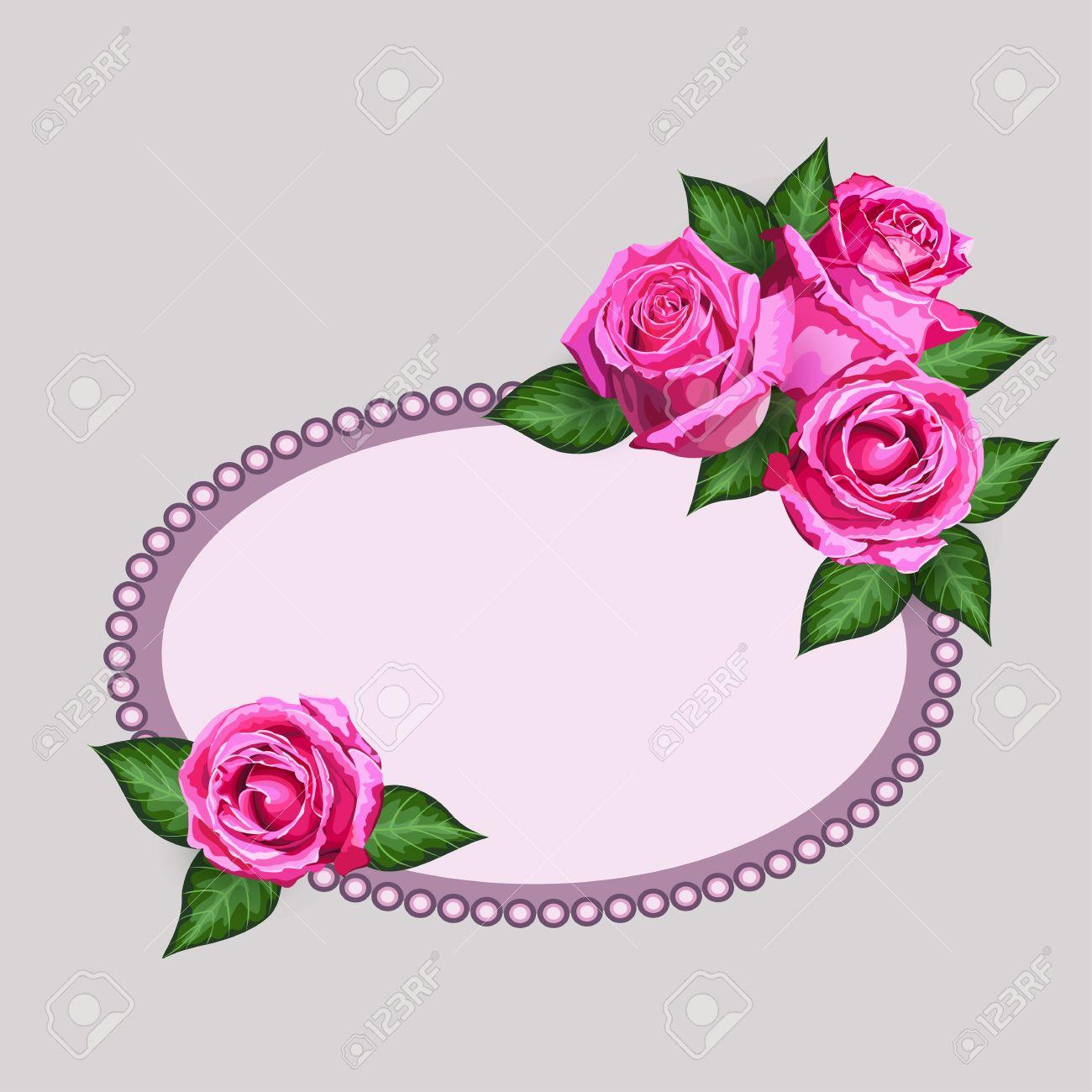 Tarjeta De Regalo Con Rosas Realistas Flores Y Marco Ornated. Vector ...