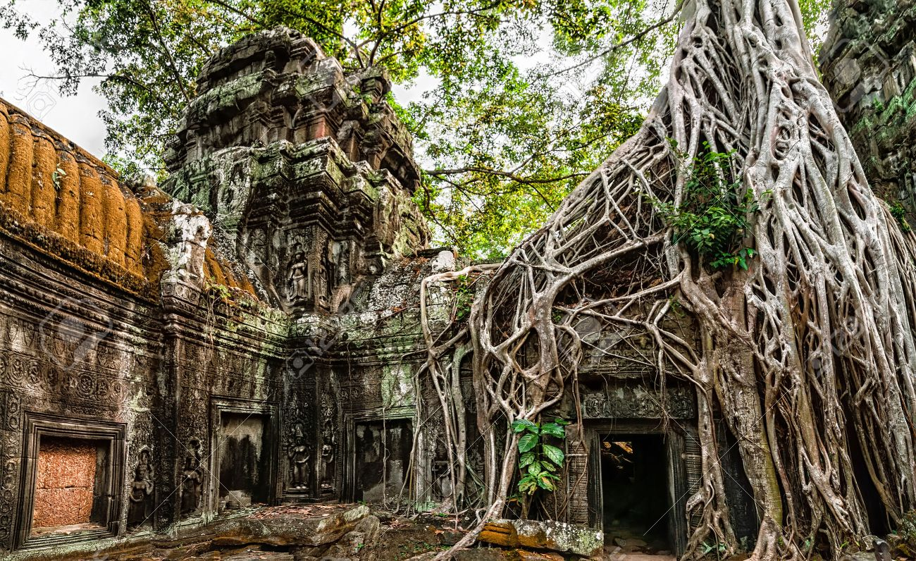 http://previews.123rf.com/images/lakhesis/lakhesis1405/lakhesis140500020/28232629-Ancient-Khmer-architecture-Ta-Prohm-temple-with-giant-banyan-tree-at-Angkor-Wat-complex-Siem-Reap-Ca-Stock-Photo.jpg