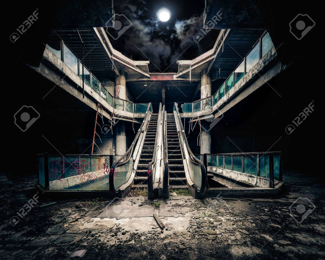 Dramatic View Of Damaged Escalators In Abandoned Building Full Stock Photo Picture And Royalty Free Image Image 49638798