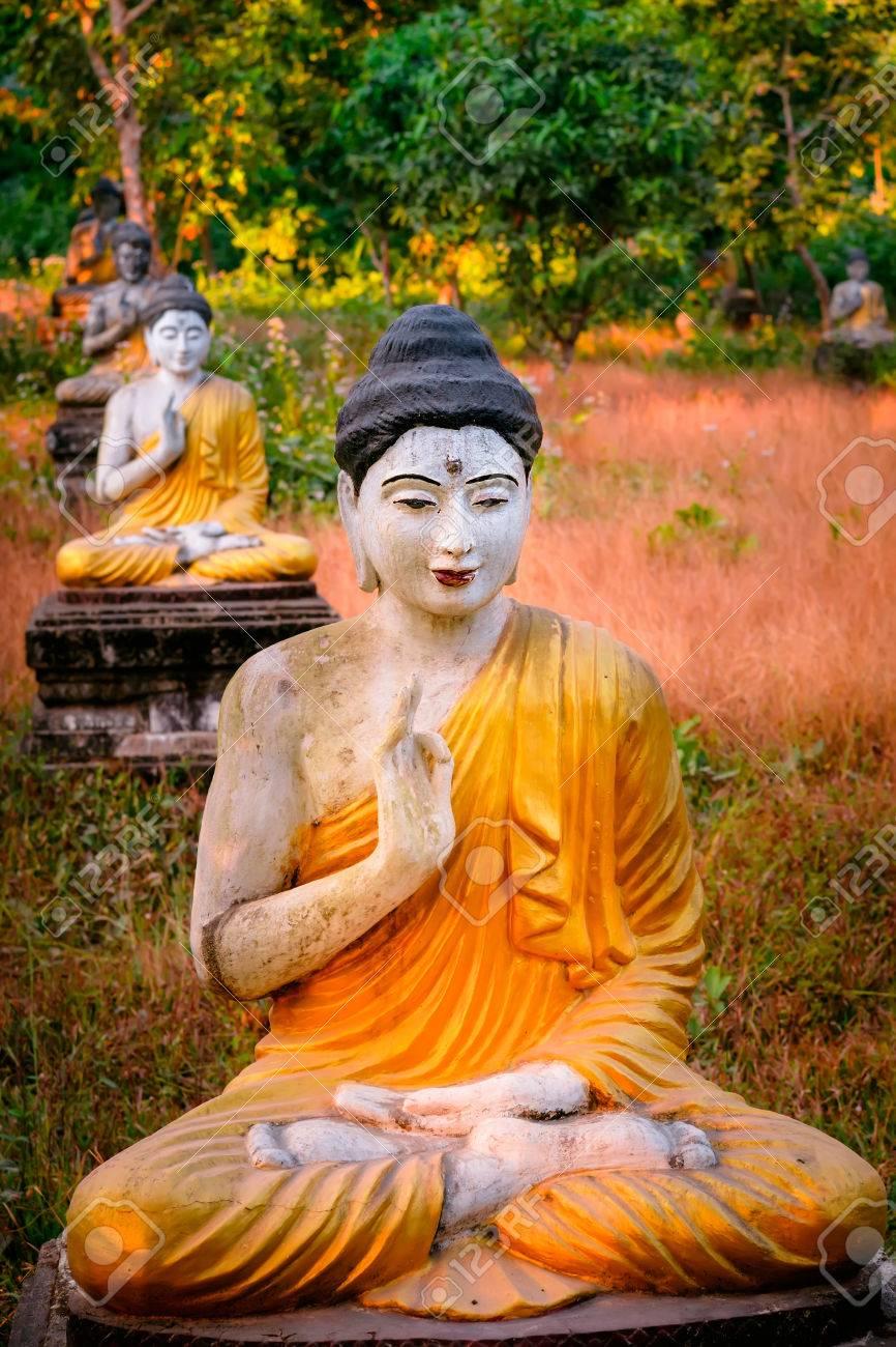 Amazing View Of Lot Buddhas Statues In Loumani Buddha Garden. Hpa An,  Myanmar