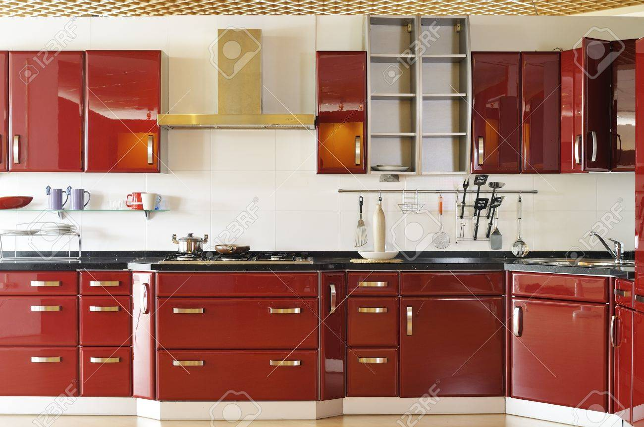 Modern Kitchen Cabinet Door A Deep Red Stock Photo, Picture And ...
