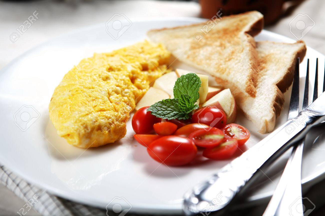 Healthy Low Fat Breakfast Has Vegetable Omelet And Fruit Stock