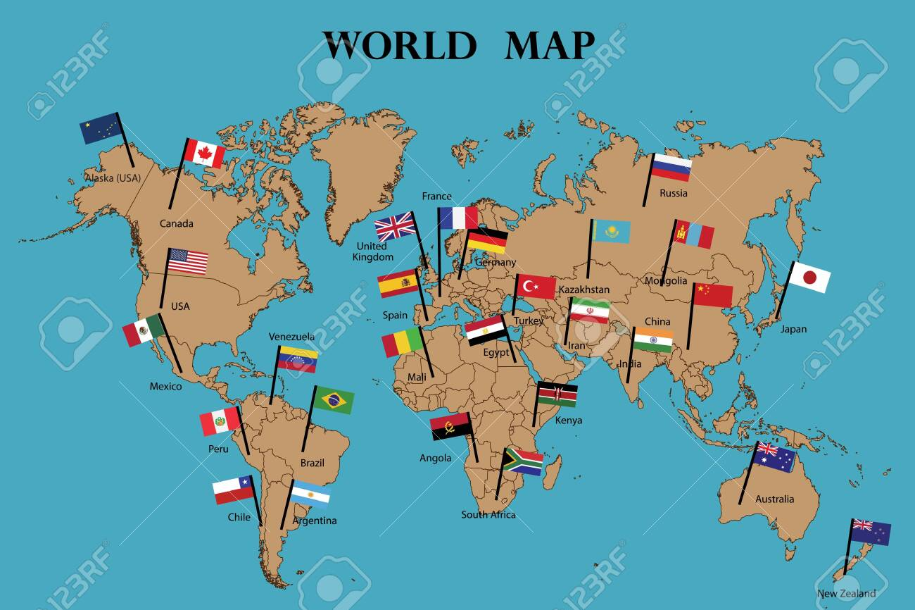 Map of world and Flags of World countries drawing by illustration.Countries names and flags marked on map - 124096350