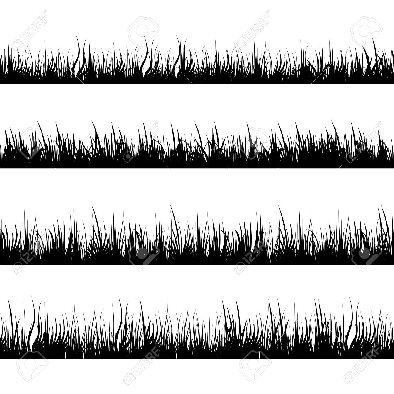 Grass silhouettes. Meadow landscape. Panorama black plants. Vector set. - 144460318