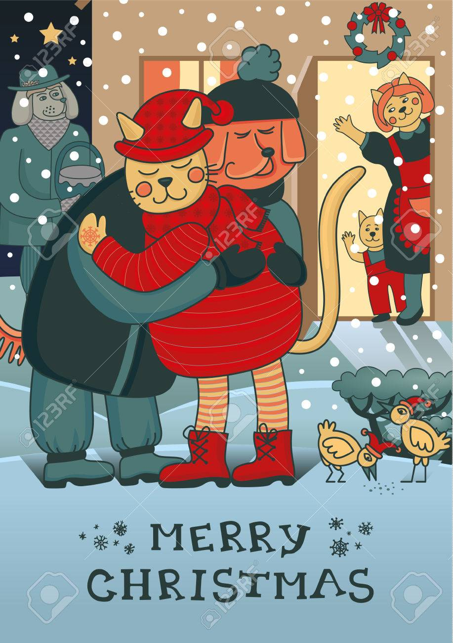 Lovely Christmas Card With Two Friends Embracing Each Other On