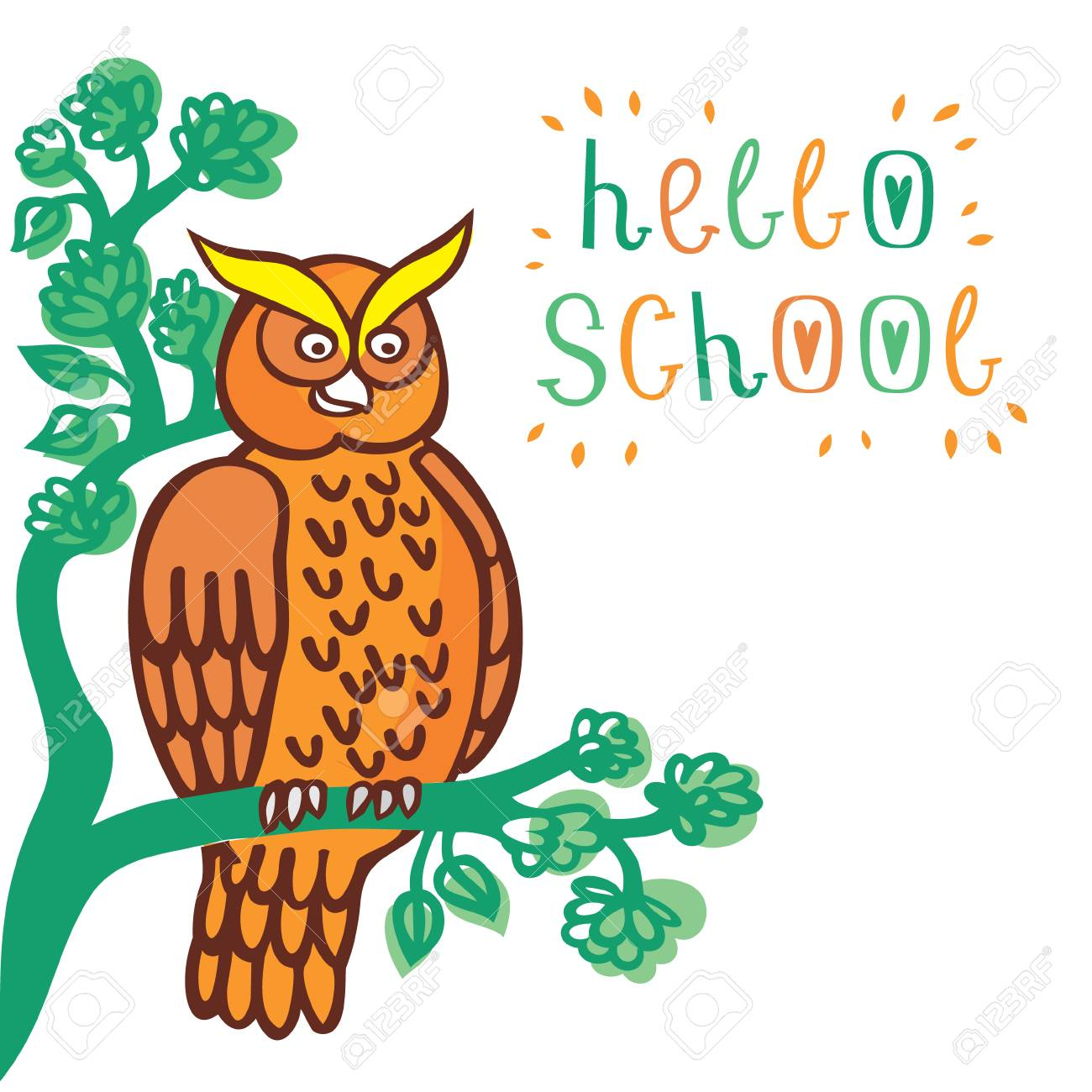 Lovely vector illustration of an owl sitting on a tree and greeting lovely vector illustration of an owl sitting on a tree and greeting children welcome back to m4hsunfo