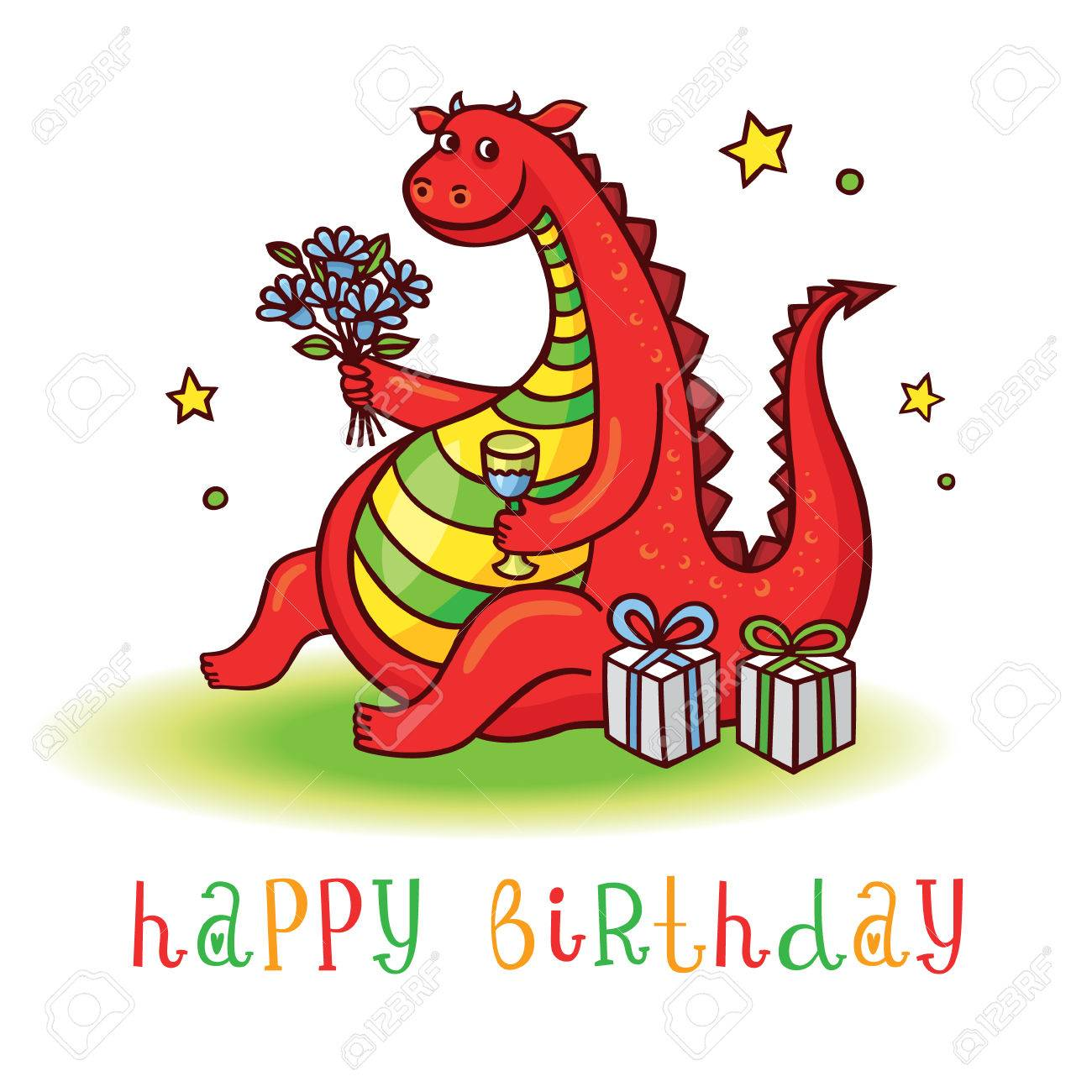 Playful Card With Funny Dragon At Birthday Party Happy Invitation Postcard Cute Dinosaur
