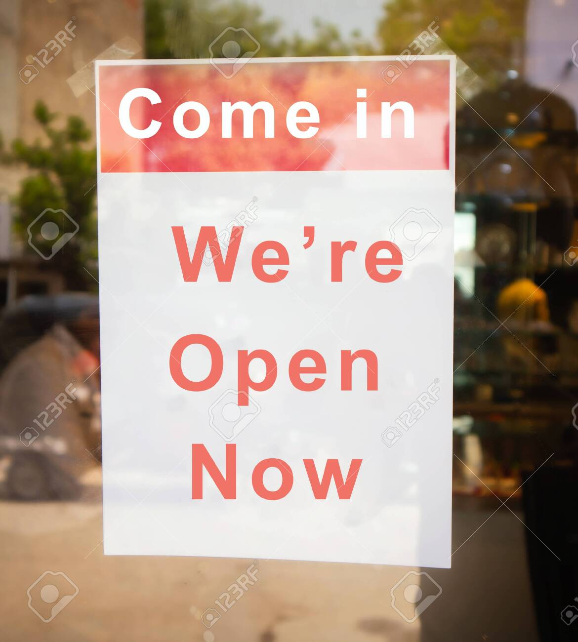 Come In We Are Open Now Signage Board In Front Of Businesses Stock Photo Picture And Royalty Free Image Image 148163284