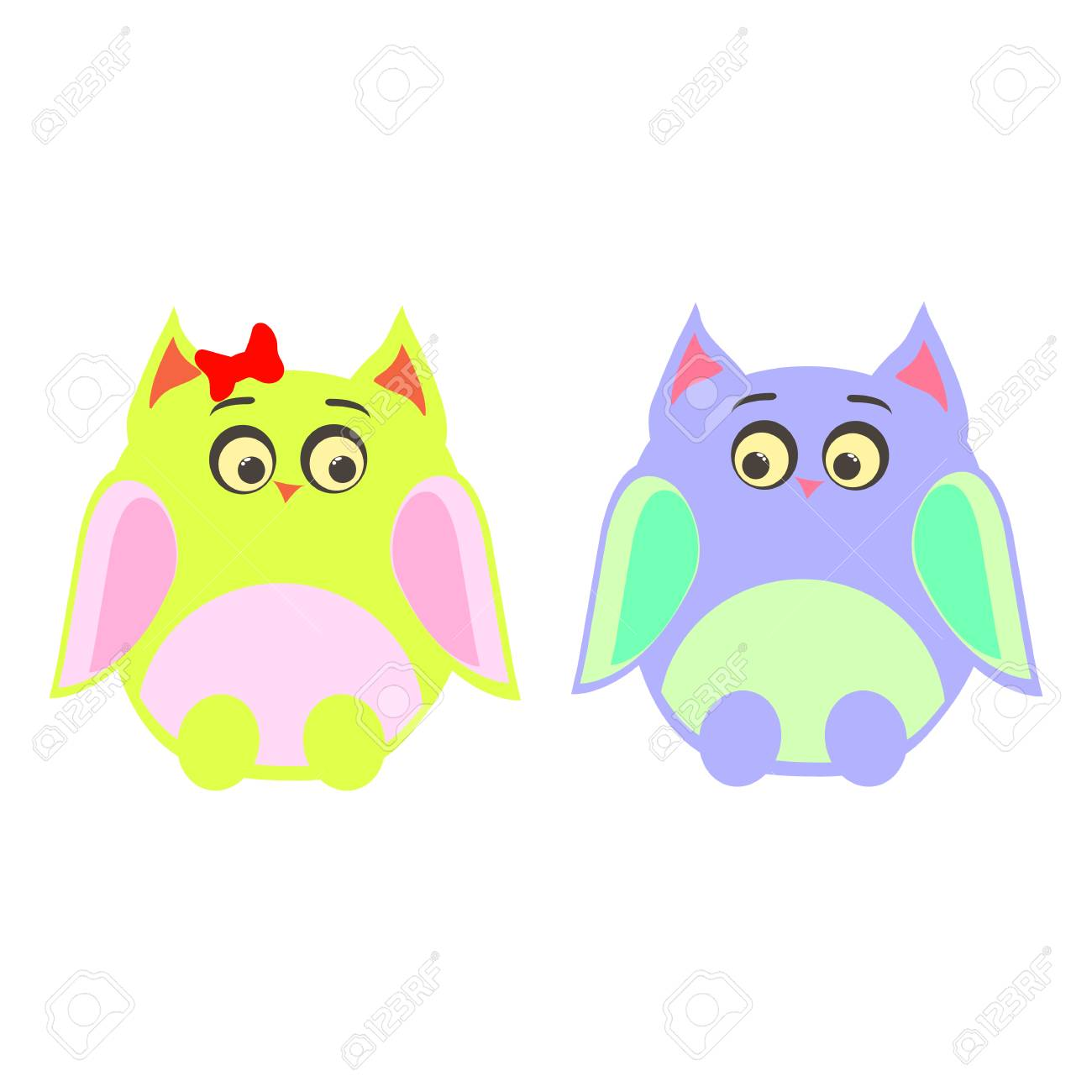 Two owls male female vector Stock Vector - 73652745 3b2f7176a074