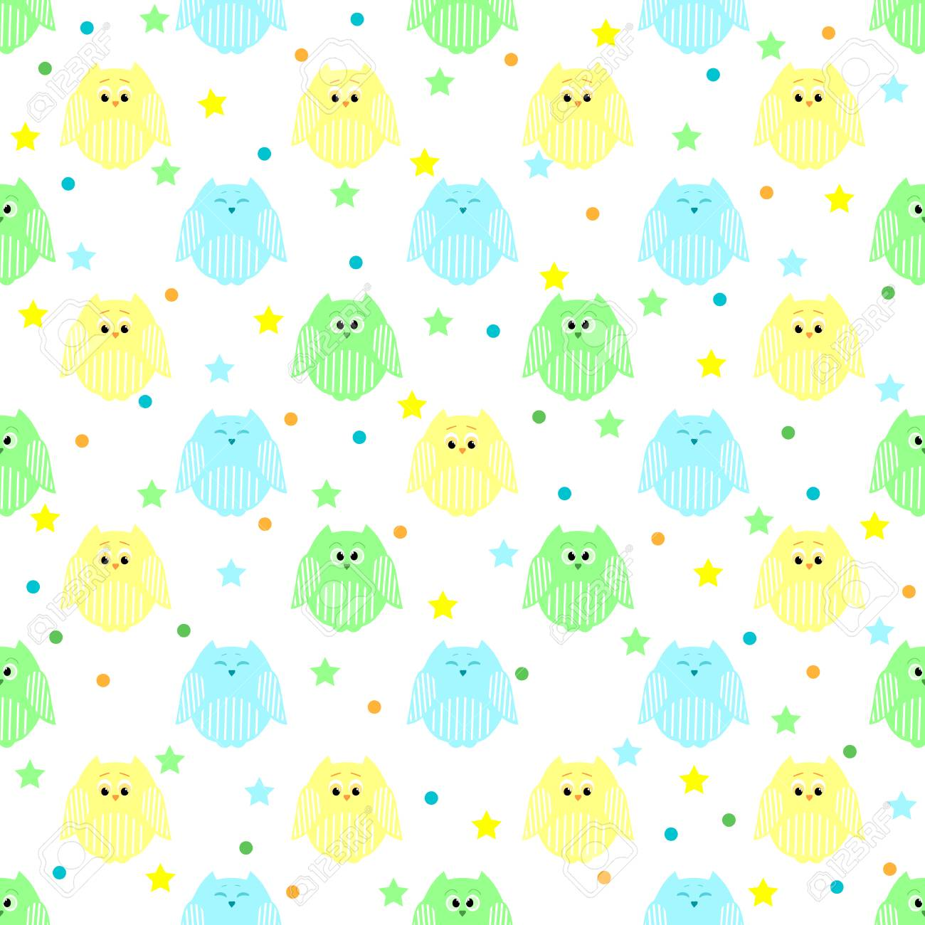 Patrón Transparente De Vector De Lindos Azules, Verdes Y Amarillos ...