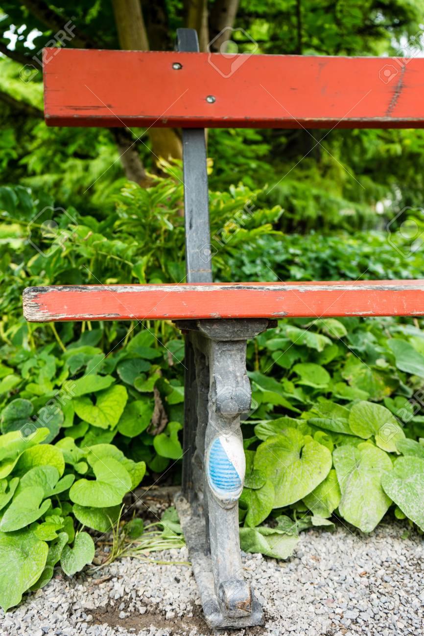 Remarkable Vintage Red Bench Leg Close Up In Outdoor Garden Uwap Interior Chair Design Uwaporg
