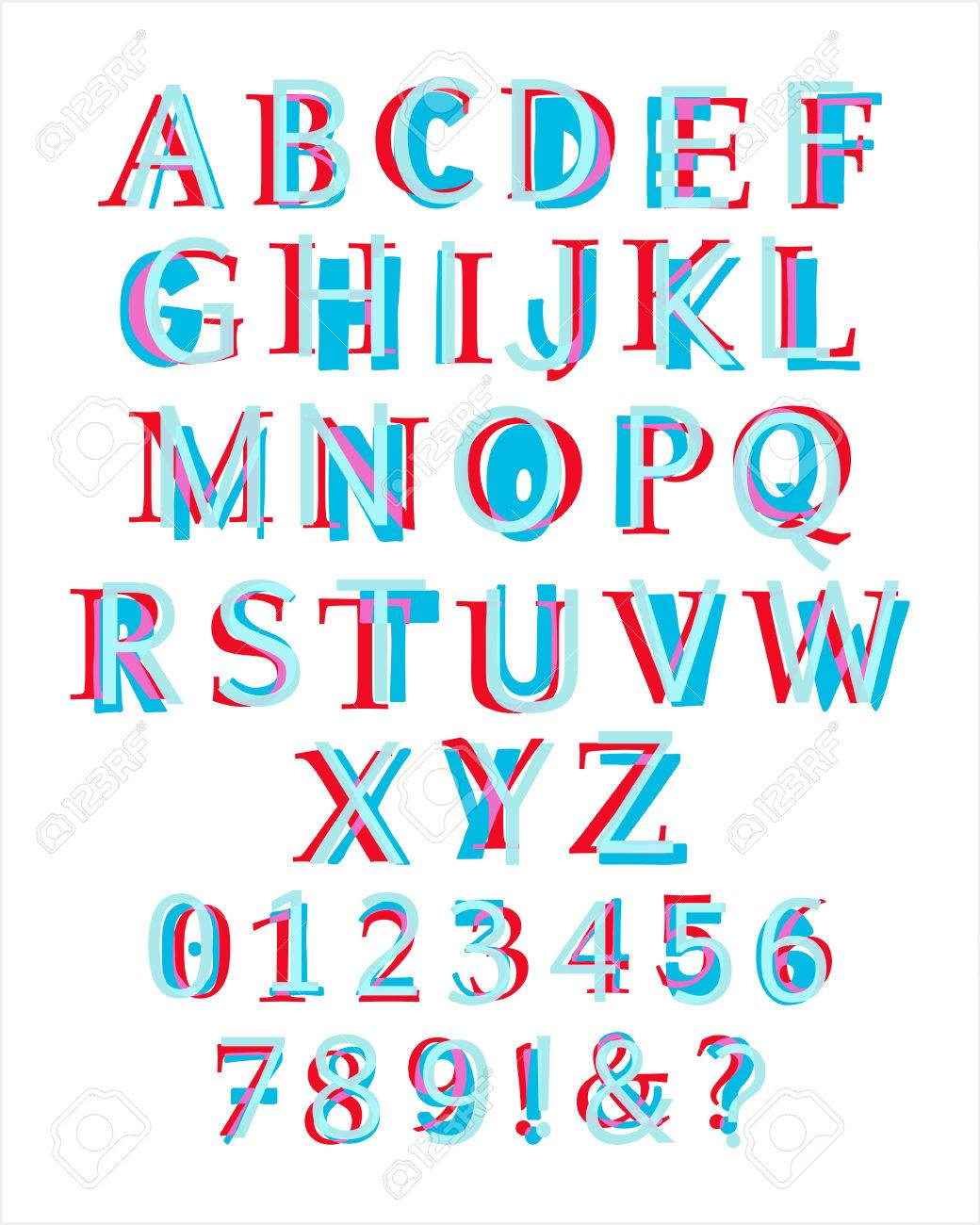 Kids Style Colorful Latin Alphabet Layered With Different Fonts Illustration Of Capital Letters And Numbers