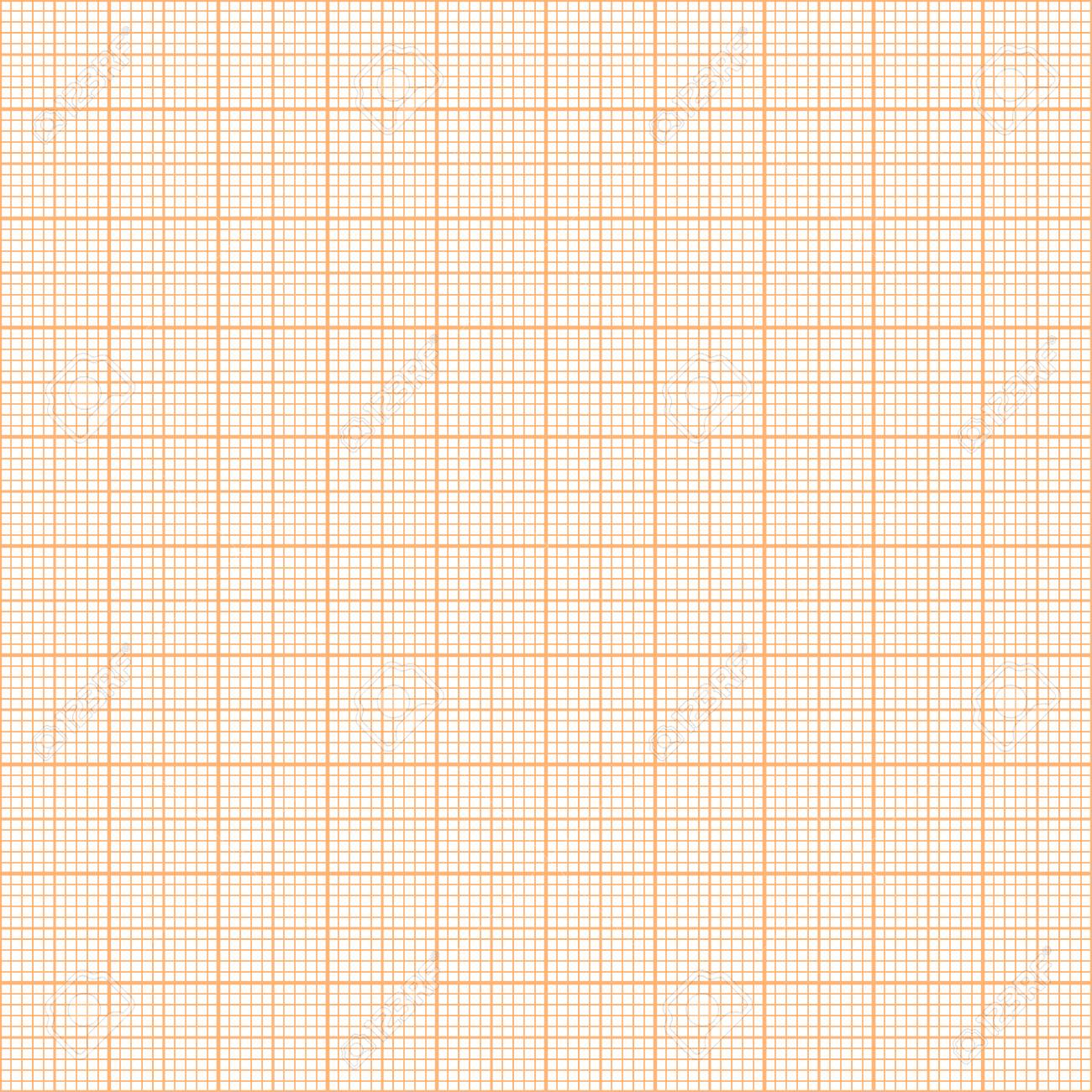 Vector orange metric graph paper seamless pattern, 1mm grid accented