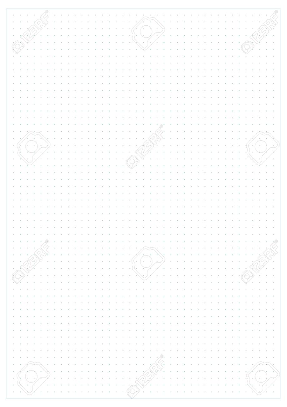 image relating to A4 Printable Paper identify Vector blue dotted grid graph paper A4 dimensions portrait orientated,..