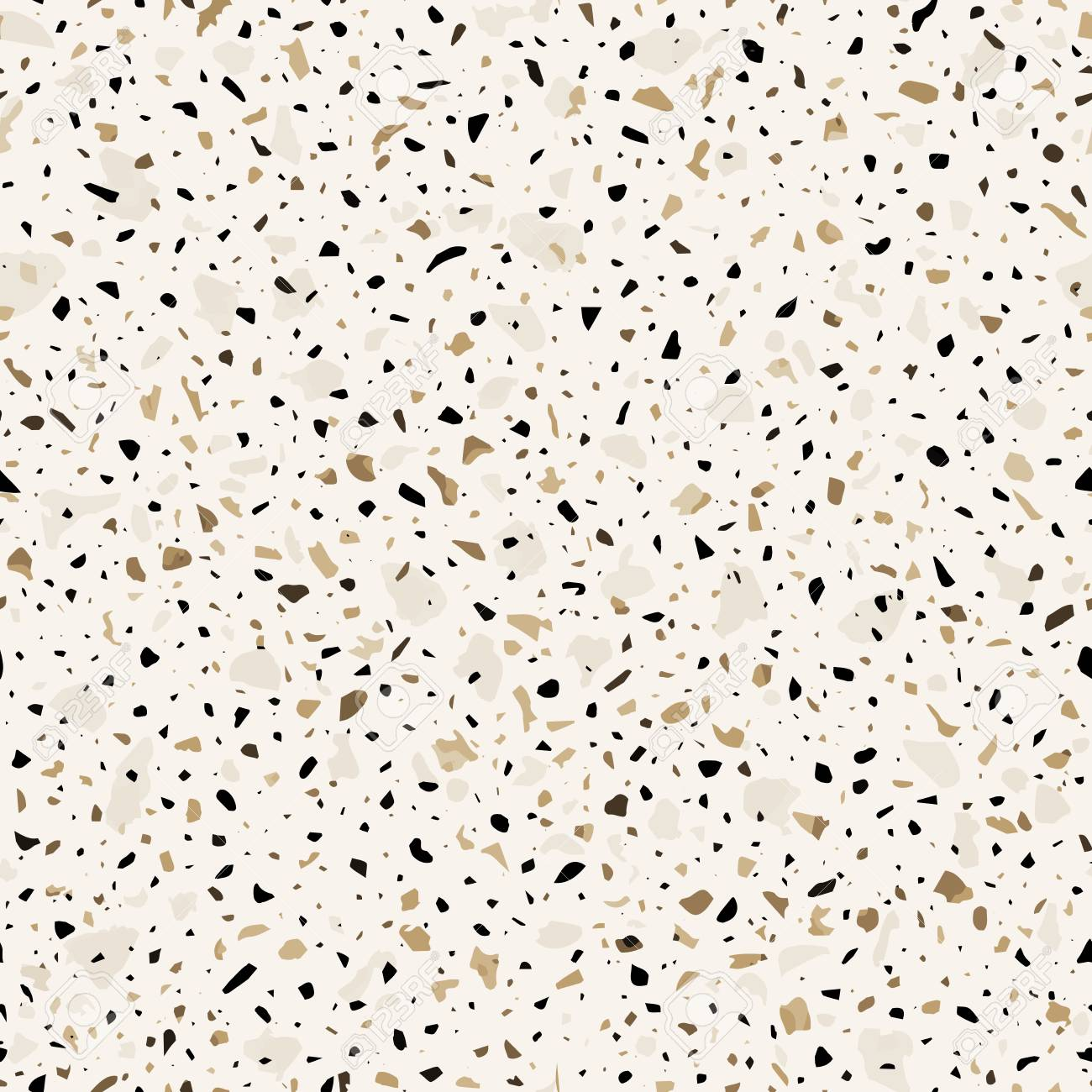 Terrazzo Flooring Vector Seamless Pattern In Brown Colors
