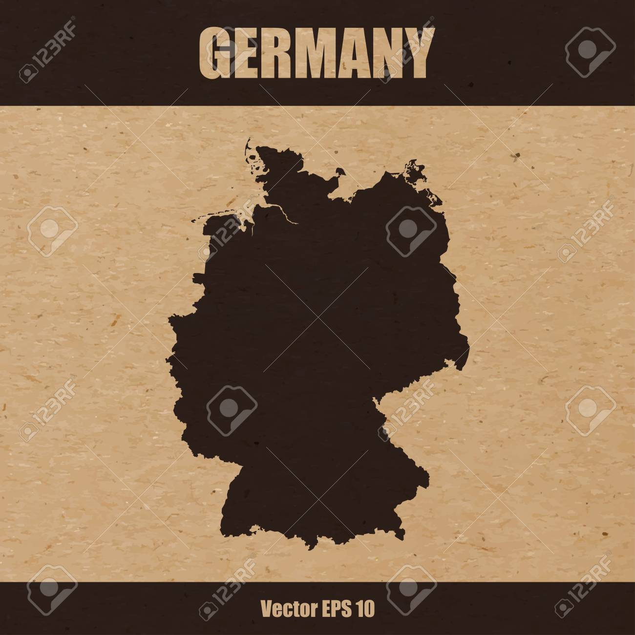 Illustration Of Detailed Map Of Germany On Craft Paper Or Cardboard ...