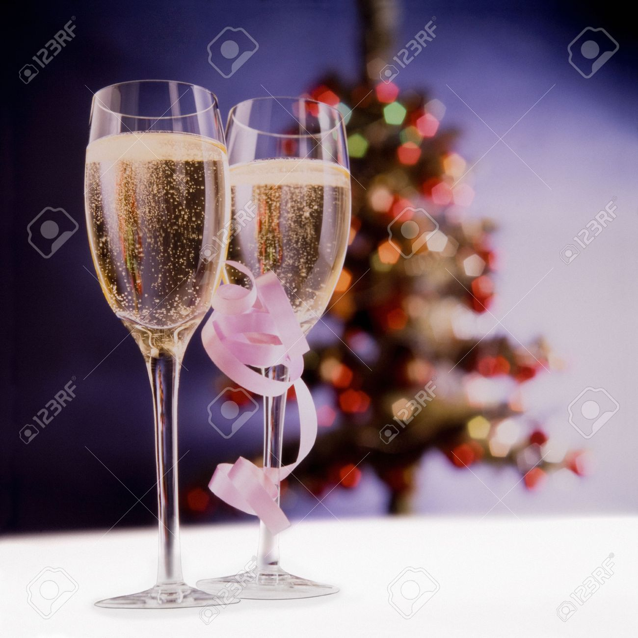 Glasses Of Champagne To Drink A Christmas Toast. Stock Photo ...
