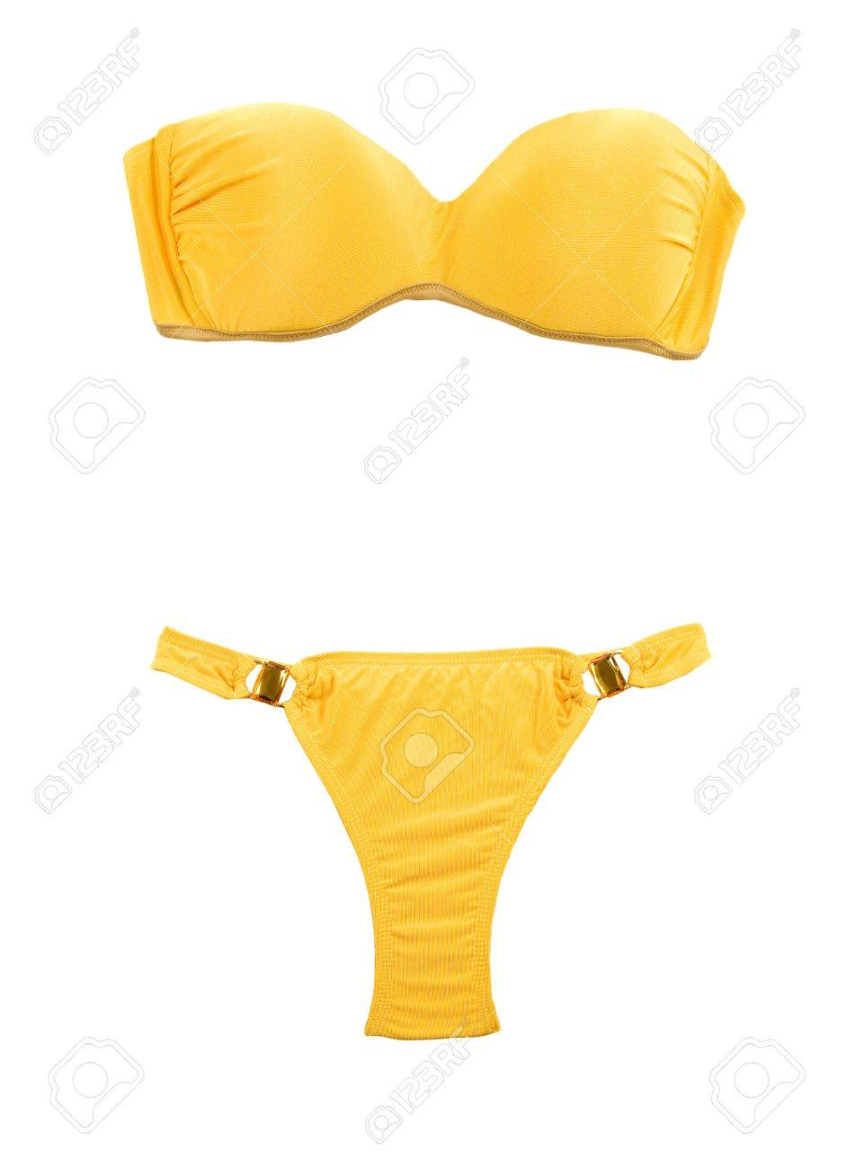 0d4cc8b49ebaf Yellow bandeau bikini with two big gems isolated on white background  Clipping path included Stock Photo