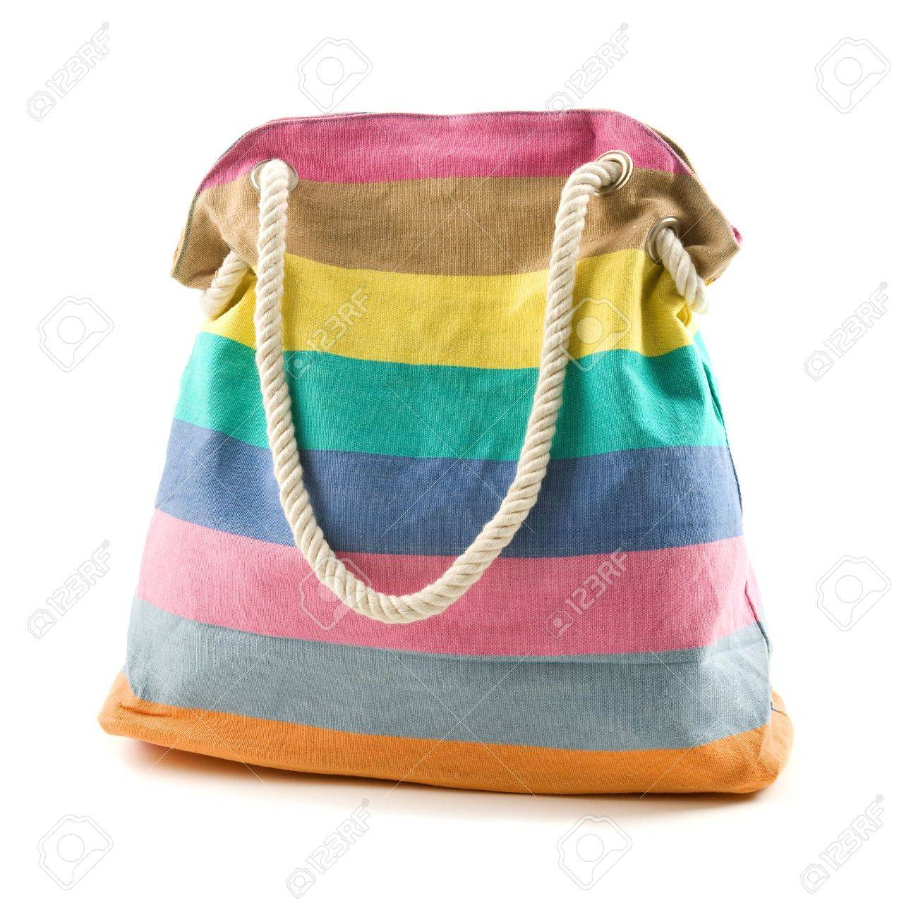 edb90d98488c Canvas multicolored striped beach bag with rope shoulder strap..